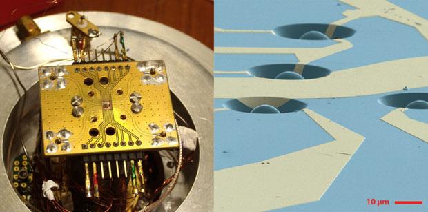 A la izquierda, uno de los dos chips empleados en el experimento de teletransporte (el diamante está en el centro). A la derecha, imagen ampliada del chip de diamante. Los cubits están encerrados en diiminutas cúpulas (la barra representa 10 micras, o 0,01 milímetros). Hanson lab@TUDelft.