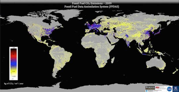Emisiones globales de CO2 de los combustibles fósiles representadas por el sistema FFDAS. Imagen de FFDAS.