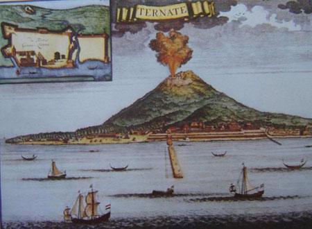 Ilustración de una erupción histórica en Indonesia, la del volcán Gamalama a comienzos del siglo XVIII, sobre el fuerte portugués de San Juan Bautista de Ternate. Imagen de Wikipedia.