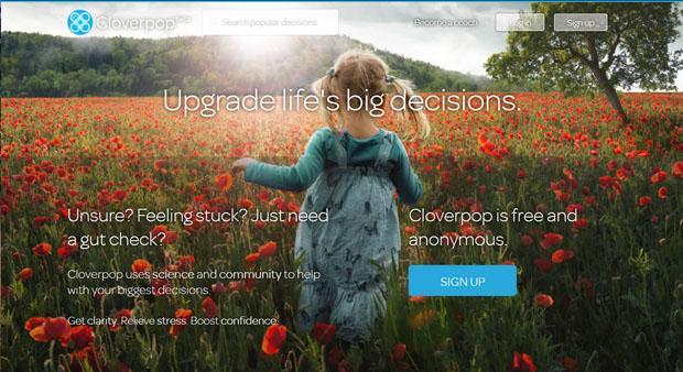 Pantalla inicial de Cloverpop.com.