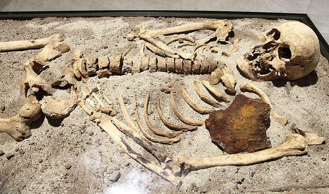 Enterramiento de un presunto 'vampiro' en Sozopol (Bulgaria), con una barra de hierro que le atravesaba el pecho. Imagen de Bin im Garten / Wikipedia.