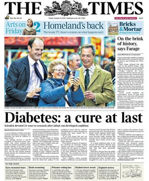 Portada del diario británico The Times del viernes 10 de octubre de 2014.