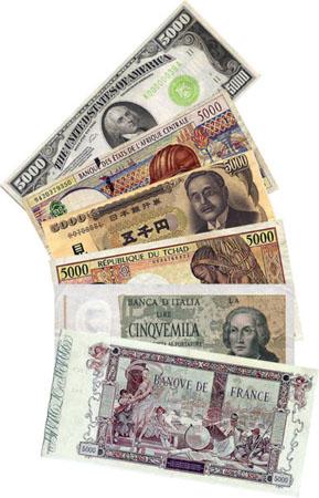 Billetes de 5.000 en diferentes divisas. Imagen de Wazouille / Wikipedia.