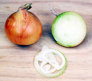 Cebolla entera, cortada y en aros. Imagen de Donovan Govan / Wikipedia.
