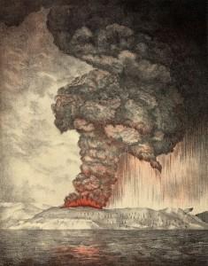 Litografía de la erupción del Krakatoa de 1883, creada en 1888. Imagen de Wikipedia.