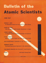 Portada del Bulletin of the Atomic Scientists de 1947, el primer número que mostraba en su portada el reloj del apocalipsis. Imagen de Bulletin of the Atomic Scientists.