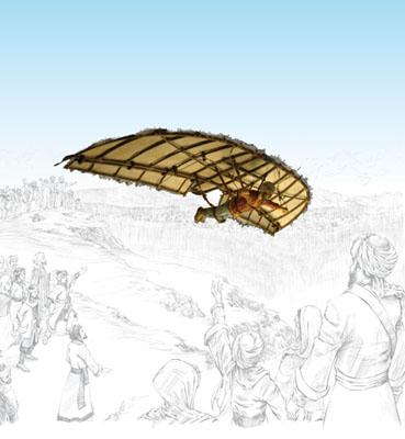 Representación artística del vuelo de Abbás Ibn Firnás. Imagen de 1001 Inventions.
