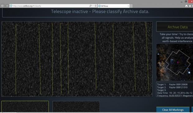 Gráfico de cascada de emisiones de radio de Kepler-186f obtenidas por SETILive. Las líneas muestran lo que podrían ser señales, según Hontas Farmer. Imagen de SETILive/Hontas Farmer. Versión original aquí.