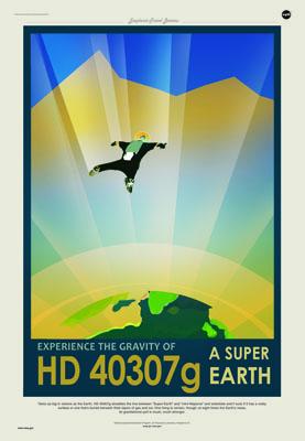 """""""Experimente la gravedad de HD 40307 g, una supertierra"""". Imagen de NASA/JPL-Caltech."""