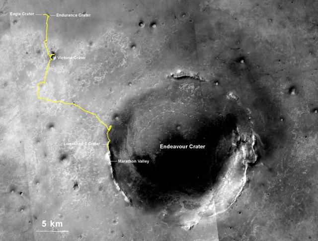 Itinerario recorrido por el robot 'Opportunity' en Marte desde su aterrizaje en el cráter Eagle el 25 de enero de 2004. Imagen de NASA / JPL-Caltech / MSSS / NMMNHS.