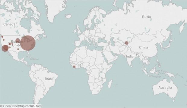 Mapa de la distribución de los brotes de sarampión en el mundo en 2015 (enero). Fuente: Council on Foreign Relations.