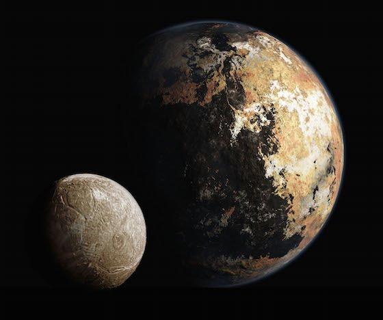 Representaciones artísticas de Plutón y Caronte. Imágenes de ourpluto.org.