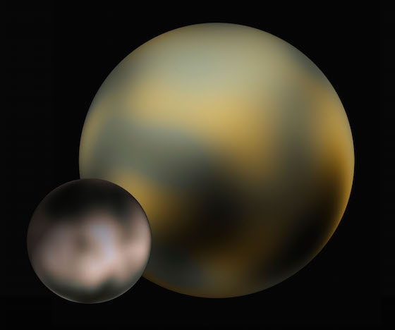 Representación de Plutón y Caronte según imágenes del telescopio espacial Hubble. Imágenes de ourpluto.org.