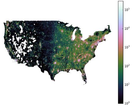 Mapa de densidad de población en EE. UU., con muchas zonas vacías en el medio oeste. Imagen de Alemi et al.