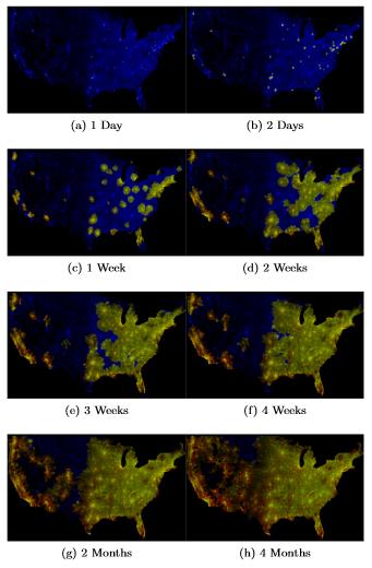 Evolución de la simulación de la epidemia zombi en EE. UU. El azul representa la población, el rojo los zombis, y el verde los zombis rematados. Imagen de Alemi et al.