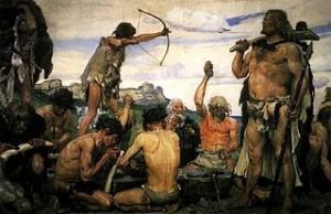 Recreación artística de cazadores de la Edad de Piedra, por el pintor ruso Viktor Vasnetsov. Imagen de Wikipedia.