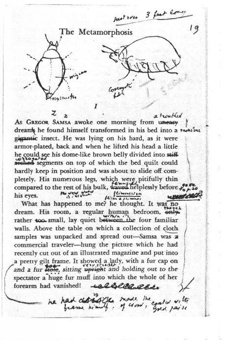 Primera página del ejemplar de 'La metamorfosis' de Kafka anotado por Nabokov.