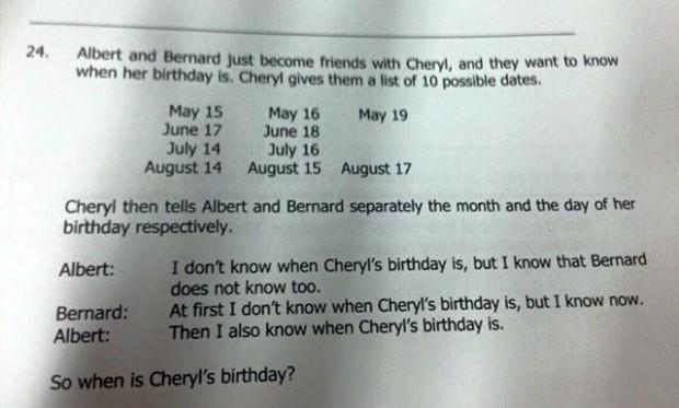 El problema del cumpleaños de Cheryl.