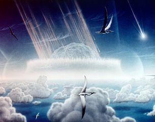 Representación artística de la caída del asteroide que pudo causar la Extinción K-T. Imagen de NASA.