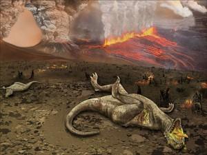 Representación artística de la Extinción K-T por las Traps del Decán. Imagen de National Science Foundation, Zina Deretsky.