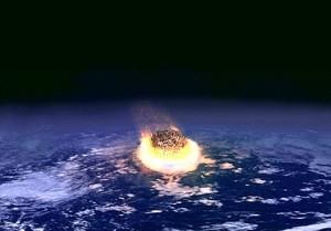 Ilustración de un asteroide estrellándose contra la Tierra. Imagen de NASA.