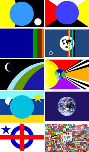 Varias propuestas de banderas de la Tierra. Imágenes de Wikipedia.
