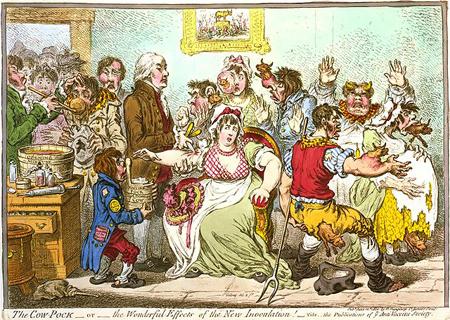 Caricatura ridiculizando la vacunación de Edward Jenner en 1802. Imagen de Wikipedia.
