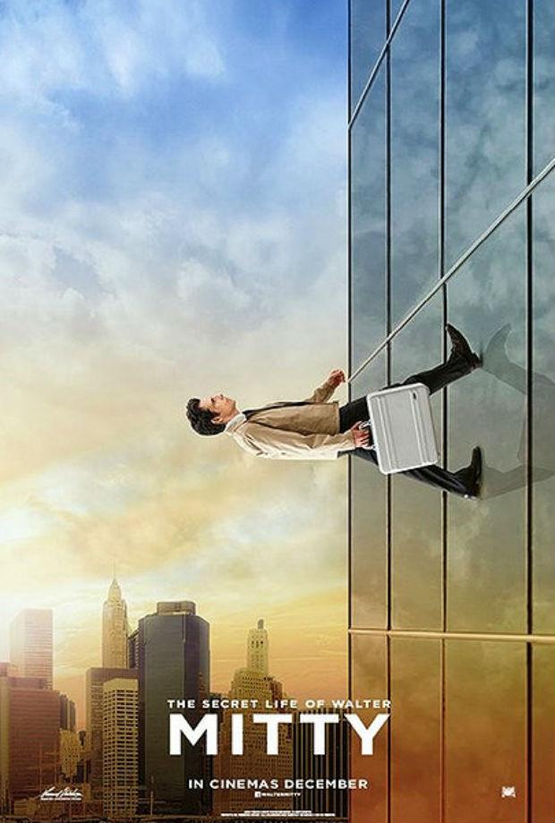 'La vida secreta de Walter Mitty', con Ben Stiller, se estrenará en España en Navidad. Película atractiva, cartel atractivo.