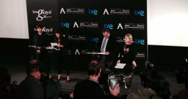 Quim Gutiérrez, Clara Lago y Enrique González Macho en la lectura de los candidatos a los Goya'2014.