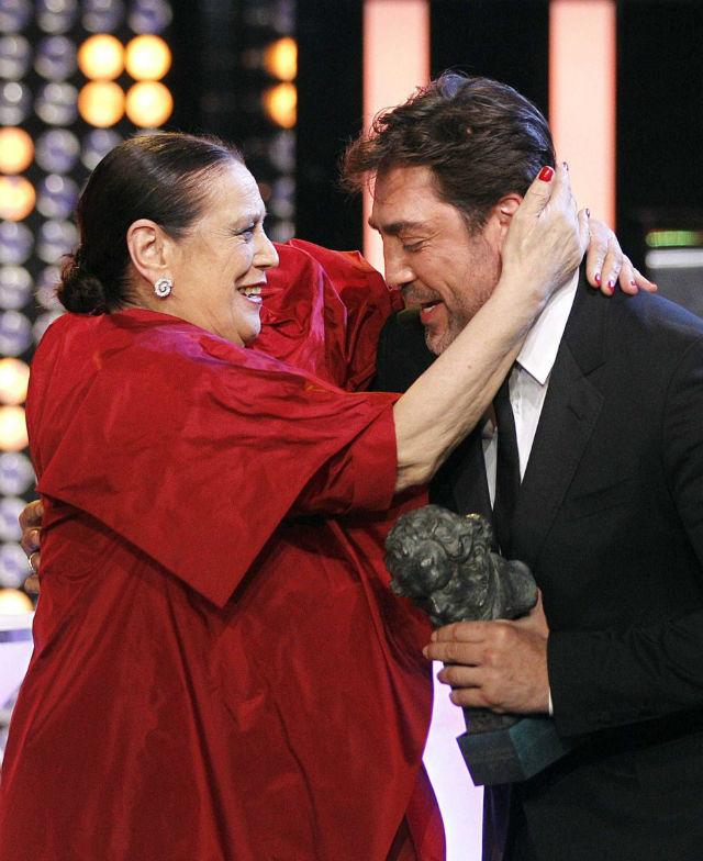 Terele Pávez y Javier Bardem, en los Goya'2014