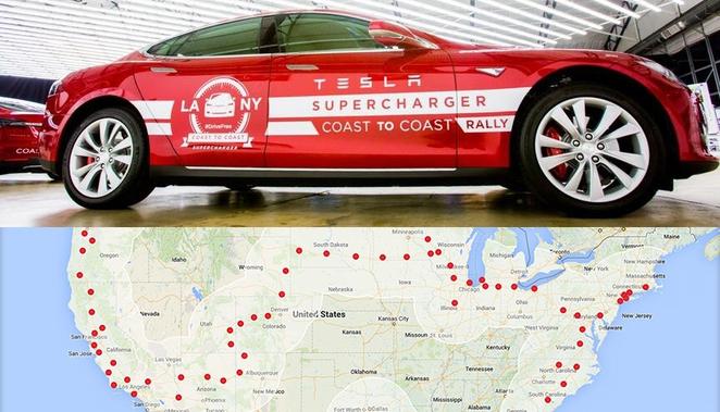 Tesla récord eléctrico Los Angeles-New York