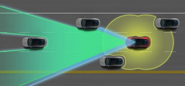 Tesla Model S P85D Autopilot enabled
