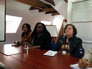 Luz Marina Becerra, María Eugenia Urrutia y Blanca Nubia Díaz (de izda. a dcha). Tres mujeres víctimas de la violencia en Colombia. Ahora, activistas.