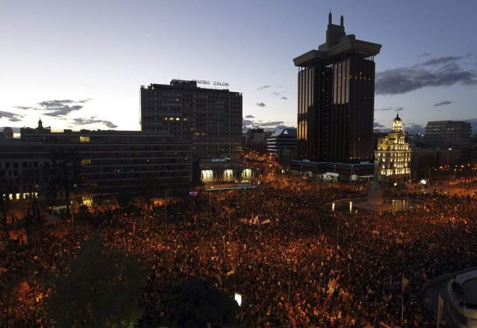 Plaza de Colón, al término de la manifestación del 22M (EFE).