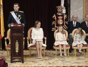 El rey, durante su discruso ante las Cortes (EFE).