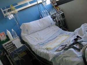 Sala de dilatación de un hospital de Madrid (foto cedida por Madre Reciente).