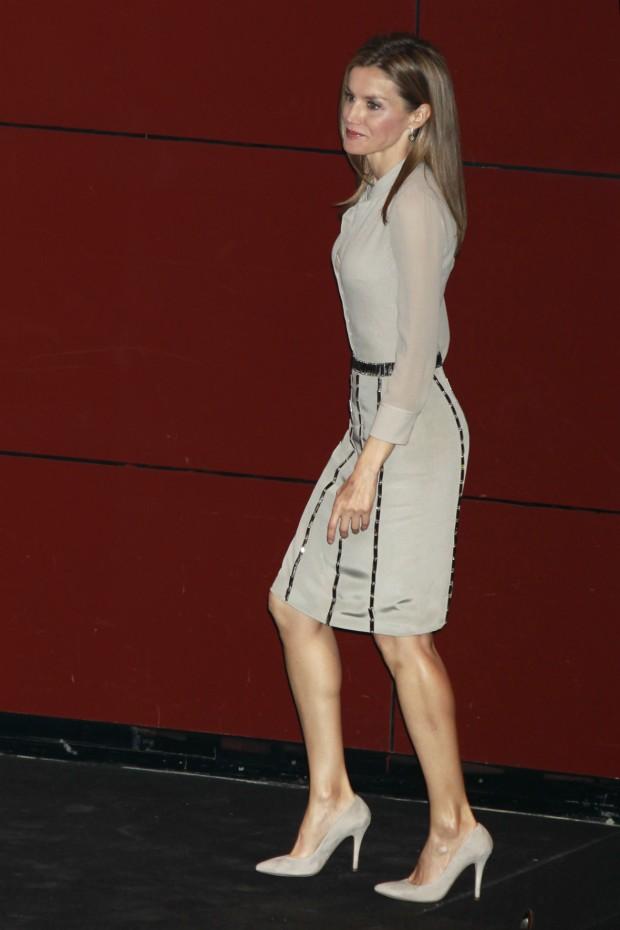 Letizia durante la ceremonia de entrega de los Premios Nacionales de la Moda, en junio de 2014 (GTRES)