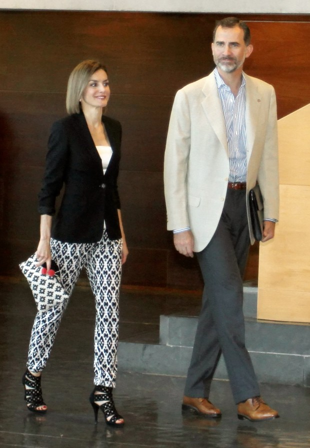 "Spanish King of Spain Felipe VI and Queen Letizia Ortiz participate in a conference during ""Forum impulsa"", Princess of Girona Fundation. 26th June, 2015"