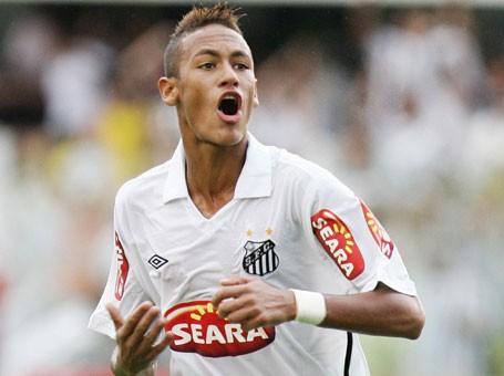 Neymar celebrando un gol con el Santos