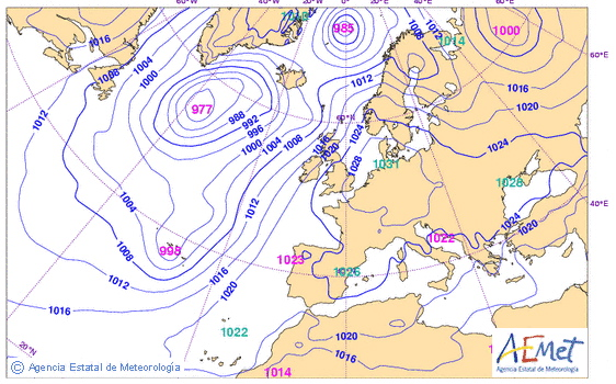 Modelo del Centro Europeo previsto para el 27 de Septiembre a las 14h