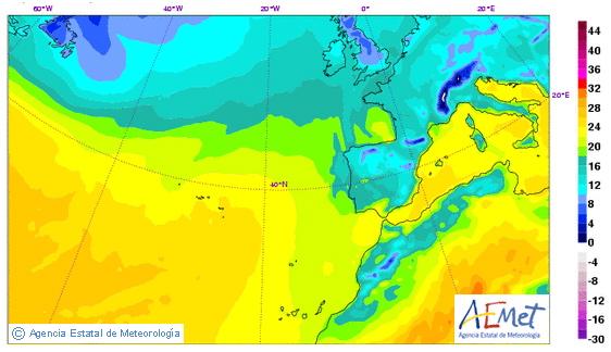 Mapa de temperaturas previstas por HIRLAM