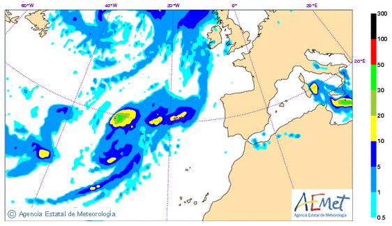 Mapa de precipitación prevista por HIRLAM