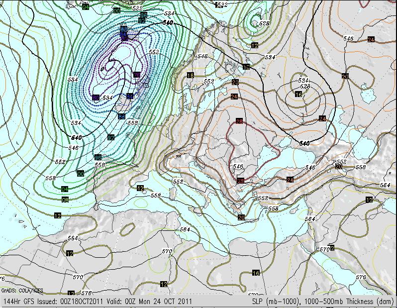 Mapa previsto en superficie para el domingo 23 de Octubre de 2011