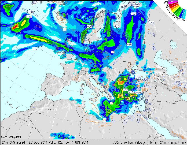 Mapa de precipitación esperada para el martes 11 de Octubre