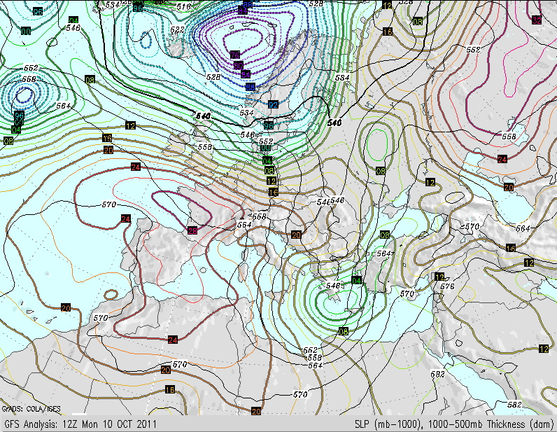 Mapa previsto de la presión atmosférica para el 11 de Octubre