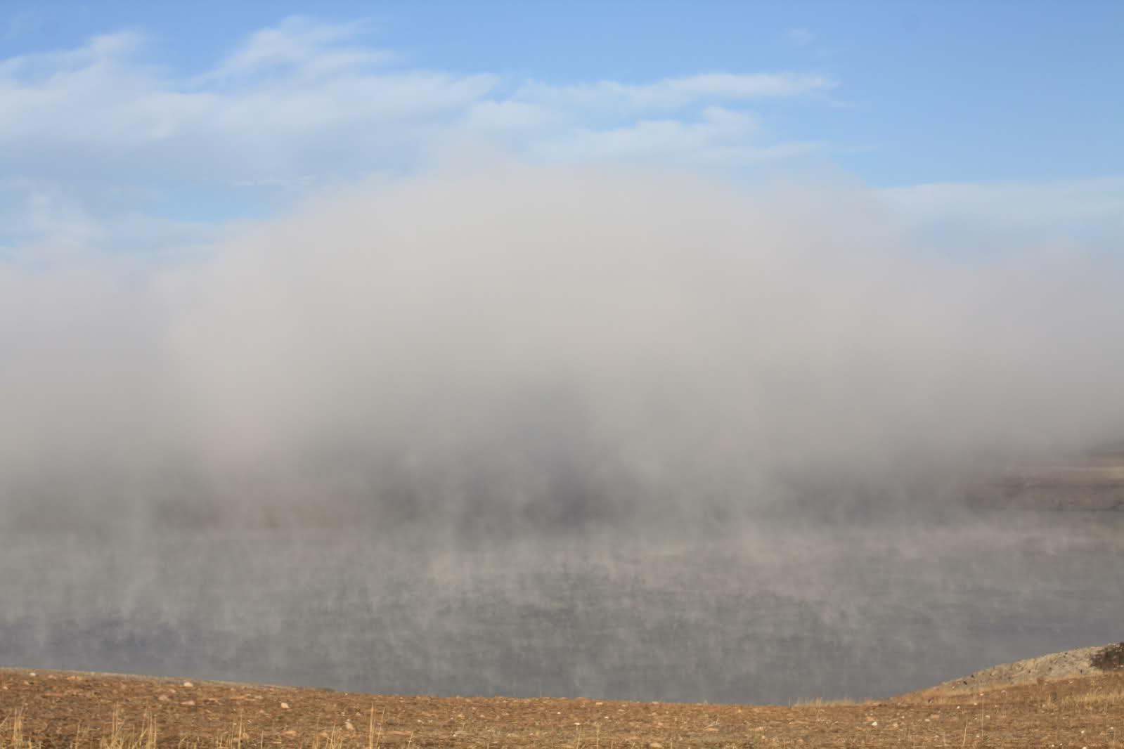 Niebla en el embalse de Ricobayo (Zamora) el domingo pasado. Foto Zamorano. Meteored.