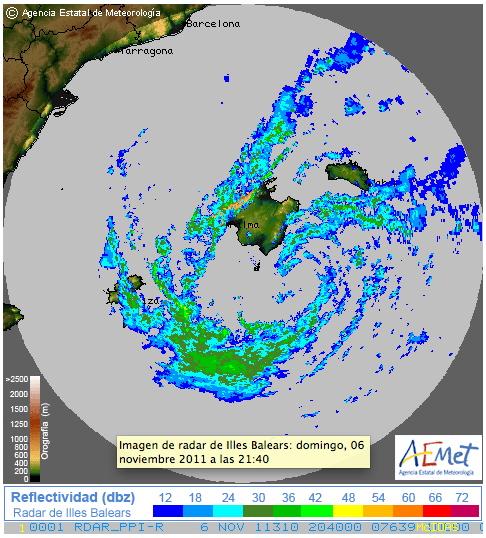 Radar de Baleares de las 21:40 del domingo 6 de Noviembre