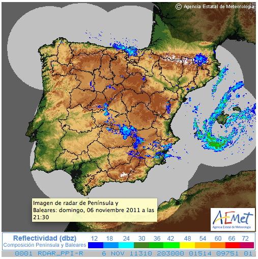 Composición nacional de radar de las 21:30 del domingo 6 de Noviembre