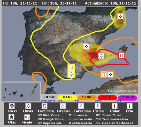 Mapa de alertas SSW-TiempoSevero emitido el lunes 21N a las 19h
