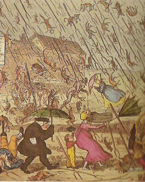 Grabado antiguo que ya muestra lluvias de animales